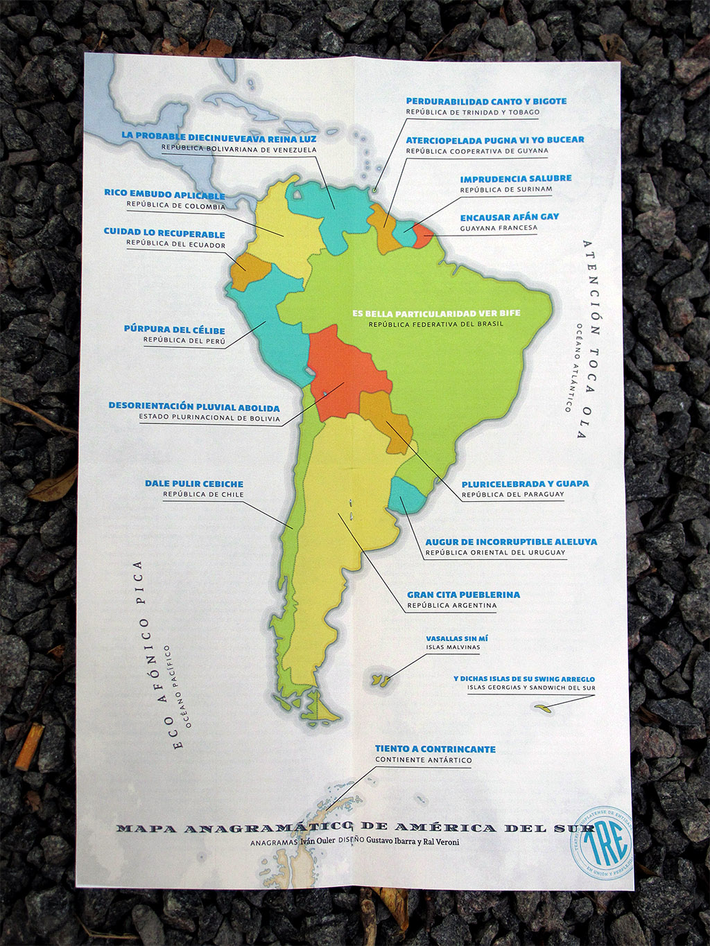 El peronista rioplatense no es triple A by Iván Ouler. Anagrammatic map of South America